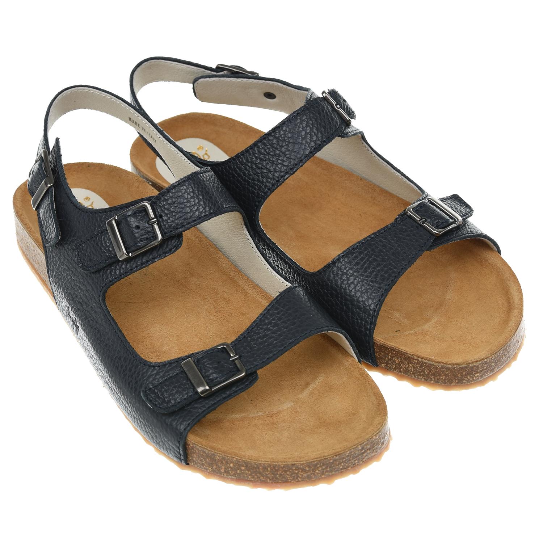 Купить Темно-синие сандалии на пробковой подошве IL Gufo детское, Синий, верх:100%кожа, подкладка:100%кожа, подошва:50%резина, 50%пробка