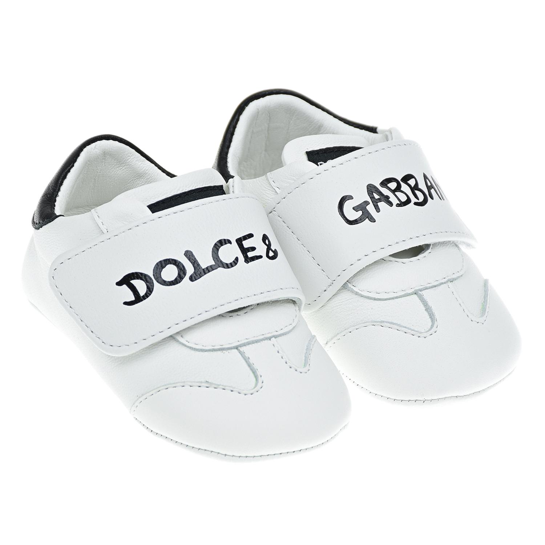 Купить Белые пинетки-кроссовки Dolce&Gabbana детские, Белый, верх:100%кожа, подкладка и стелька:100%кожа, подошва:100%резина