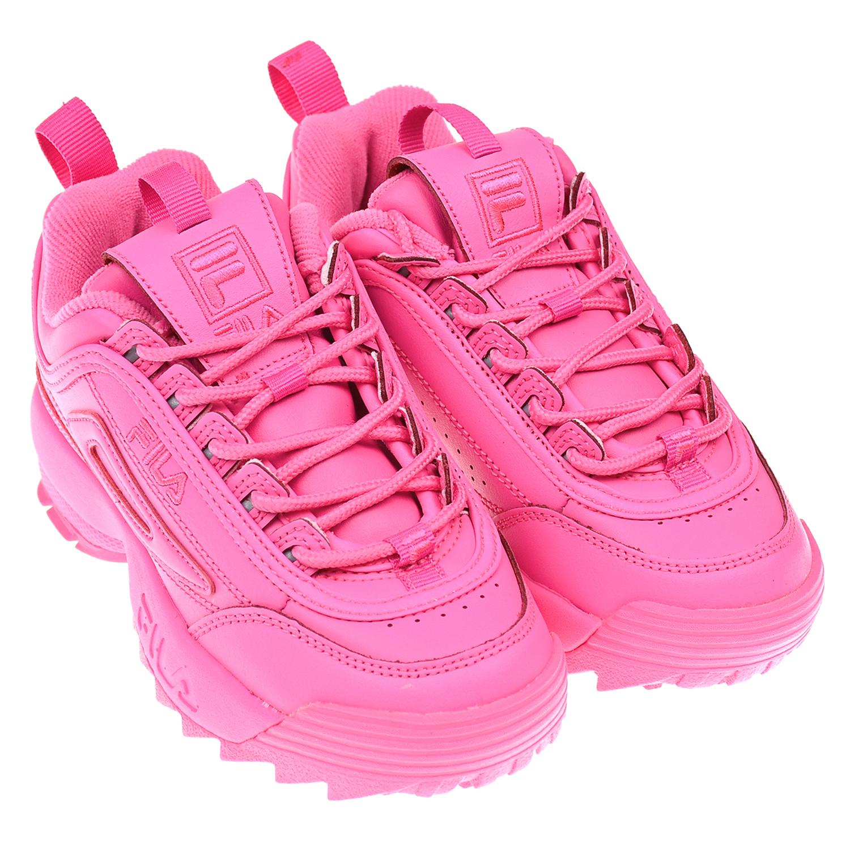 Купить Кроссовки DISRUPTOR II цвета фуксии FILA детские, Розовый, верх:54%нат.кожа+46%синтет.кожа, подкладка:100%текстиль, подошва:100%ЭВА