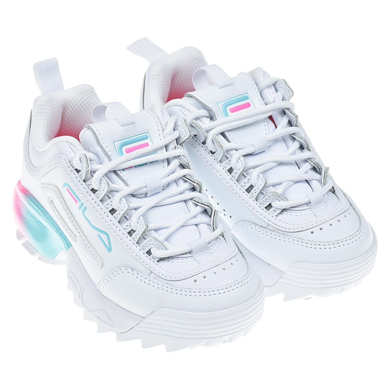 Купить Белые кроссовки DISRUPTOR 2A FILA детские, Белый, верх:61%нат.кожа+39%синтет.кожа, подкладка:100%текстиль, подошва:100%ЭВА