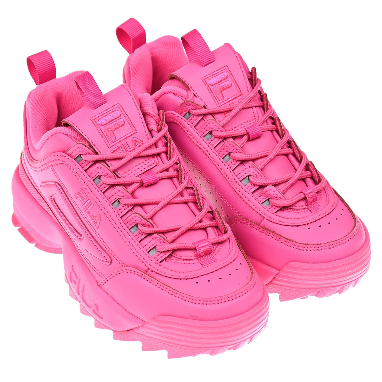 Кроссовки DISRUPTOR II цвета фуксии FILA детские, Розовый, верх:54%нат.кожа+46%синтет.кожа, подкладка:100%текстиль, подошва:100%ЭВА  - купить со скидкой