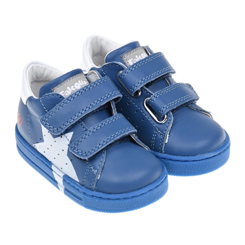 Купить Синие кеды из кожи с принтом звезда Falcotto детские, Синий, Верх:100% кожа, Подкладка:100% кожа, Стелька:100% кожа, Подошва:100% резина