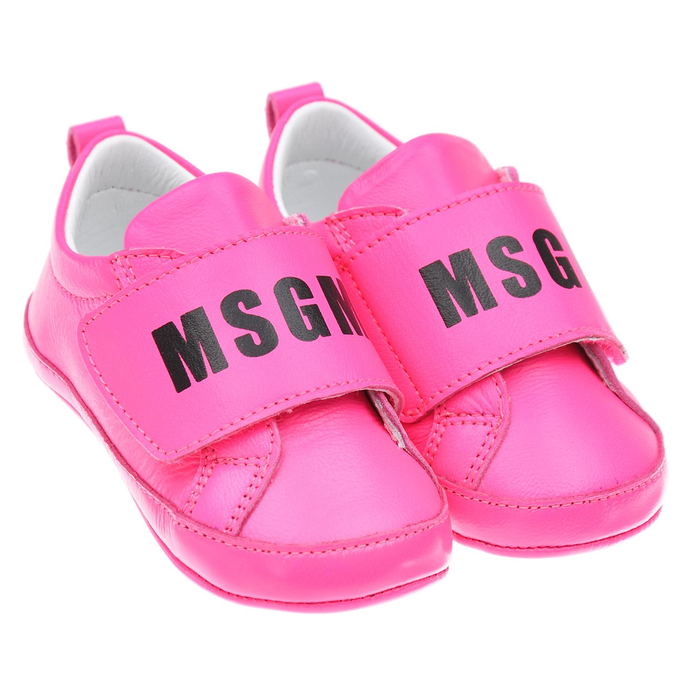 Купить Пинетки цвета фуксии MSGM детские, Розовый, верх-100% кожа, подкладка-100% кожа, подошва-100% кожа