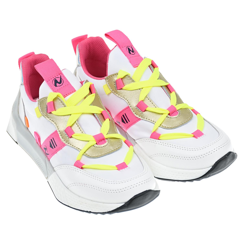 Купить Белые кроссовки с желтыми шнурками Naturino детские, Белый, верх:80%полиэстер+20%кожа, подкладка/стелька:100%кожа, подошва:100%резина