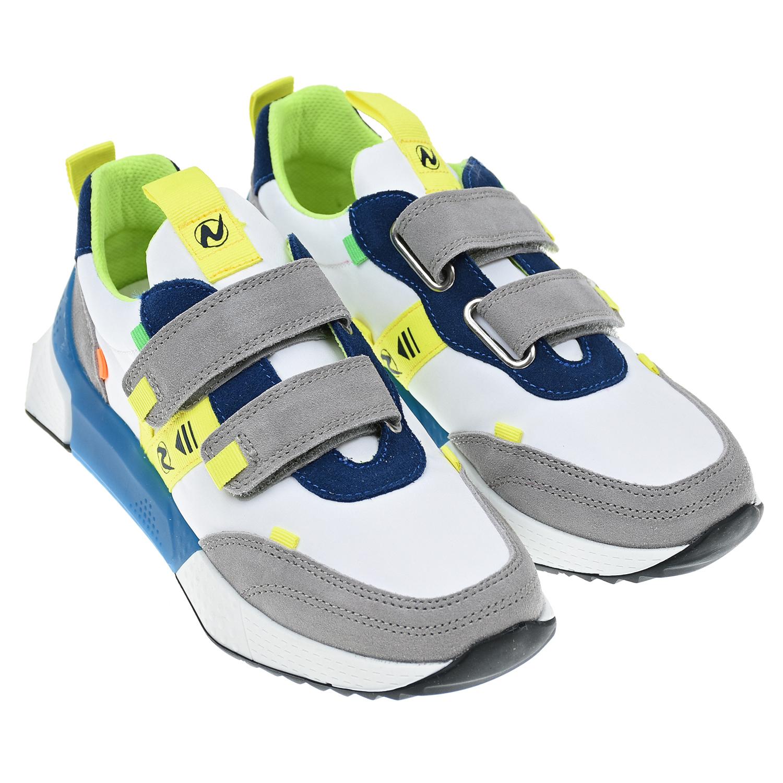 Купить Белые кроссовки с желтыми вставками Naturino детские, Белый, верх:80%полиэстер+20%кожа, подкладка/стелька:100%кожа, подошва:100%резина