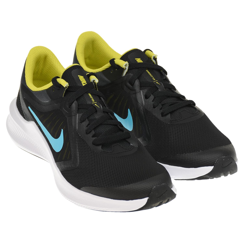 Купить Черные кроссовки Downshifter 10 с голубым лого Nike детские, Черный, верх:70%текстиль, 30%синт.кожа, подкладка:100%текстиль, подошва:90%резина, 10%пластик