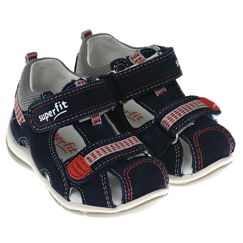 Купить Базовые темно-синие сандалии SUPERFIT детские, Синий, Верх:90% кожа 10% текстиль, Подкладка:100% кожа, Стелька:100% кожа, Подошва:100% резина