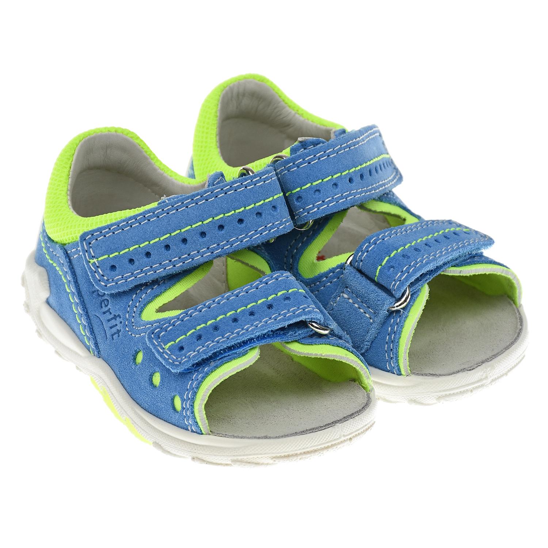 Купить Голубые сандалии с салатовыми вставками SUPERFIT детские, Голубой, Верх:90% кожа 10% текстиль, Подкладка:80% кожа 20% текстиль, Стелька:100% кожа, Подошва:100% полиуретан