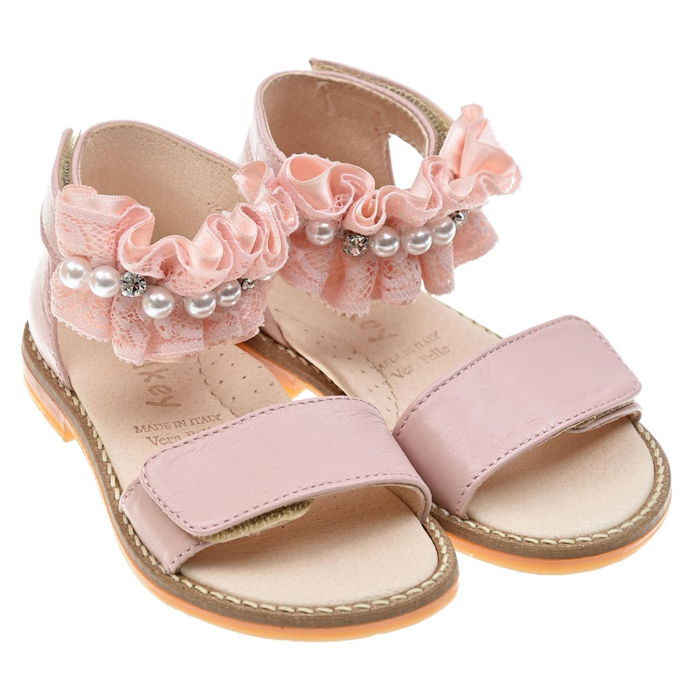 Купить Розовые босоножки с рюшами Walkey детские, Розовый, верх:100%кожа, подкладка:100%кожа, стелька:100%кожа, подошва:100%резина