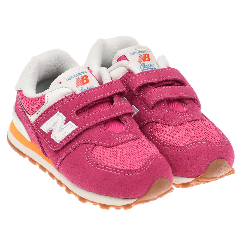 Купить Базовые кроссовки 574 Classic цвета фуксии NEW BALANCE детские, Розовый, Верх:13% полиэстер+22% полиуретан+65% нат.кожа, подкладка: 100% хлопок, подошва:100% резина