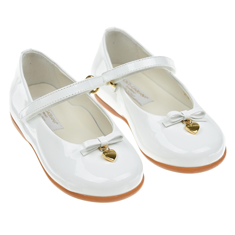 Купить Базовые туфли белого цвета Dolce&Gabbana детские, Белый, Верх:100% кожа, Подкладка:100% кожа, Стелька:100% кожа, Подошва:100% резина