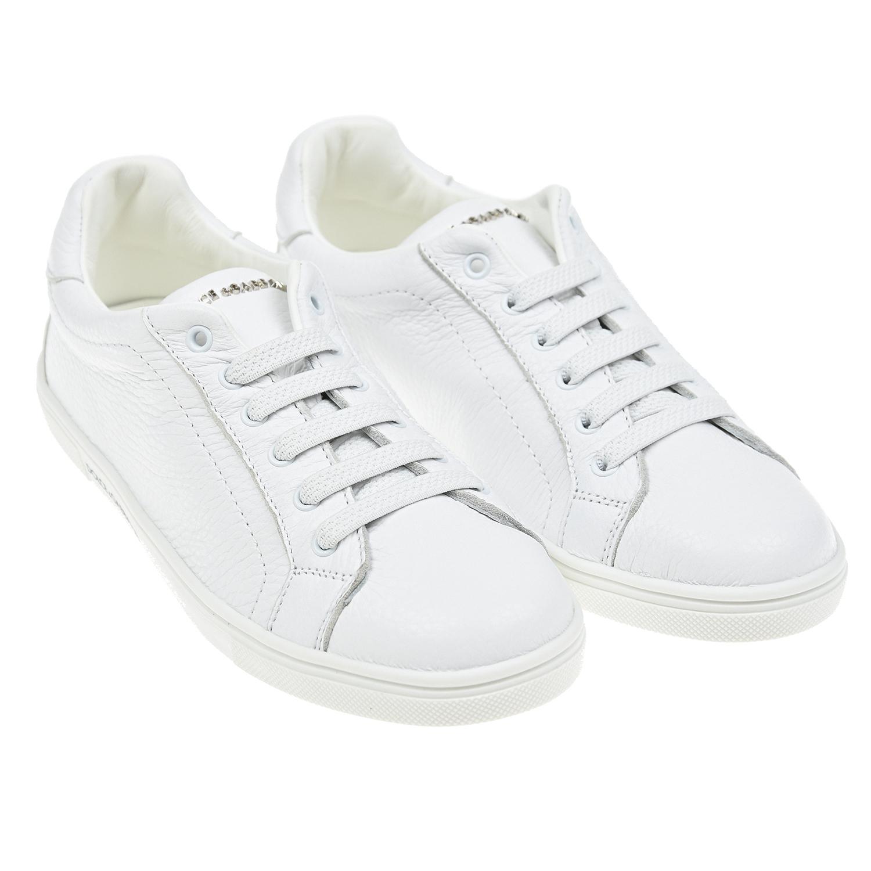Купить Белые кеды с логотипом на заднике Dolce&Gabbana детские, Белый, Верх:100% кожа, Подкладка:100% кожа, Стелька:100% кожа, Подошва:100% резина