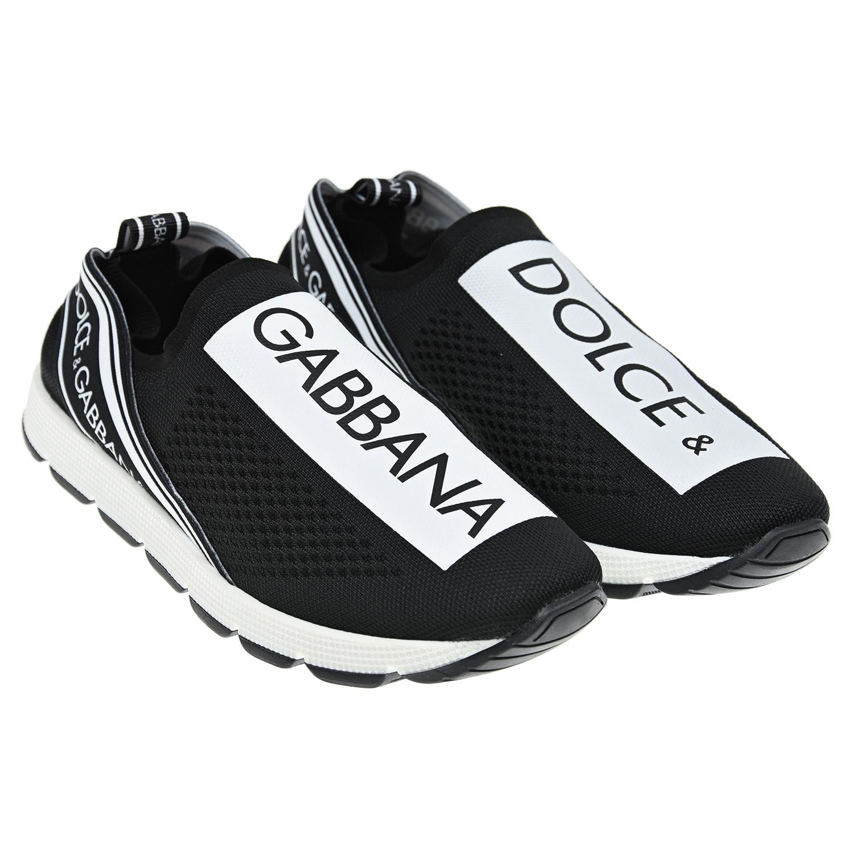Купить Кроссовки-носки с логотипом Dolce&Gabbana детские, Черный, Верх:100% полиэстер, Подкладка:50% кожа+50% полиэстер, Стелька:%3, Подошва:100% кожа