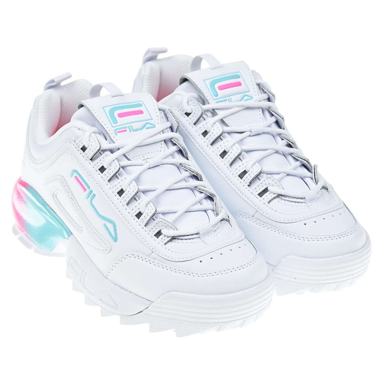 Купить Белые кроссовки DISRUPTOR 2A FILA детские, Белый, верх:54%нат.кожа+46%синтет.кожа, подкладка:100%текстиль, подошва:100%ЭВА