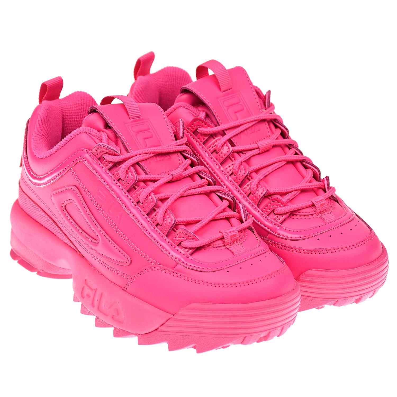 Купить Кроссовки DISRUPTOR II PREMIUM цвета фуксии FILA детские, Розовый, верх:53%синтетическая кожа+47%нат.кожа, подкладка:100%текстиль(полиэстер), подошва:100%резина
