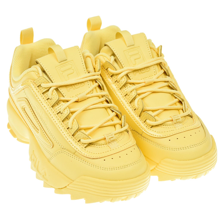 Купить Желтые кроссовки DISRUPTOR II PREMIUM FILA детские, Желтый, Верх:53%иск.кожа+47% нат.кожа, подкладка:100% текстиль, подошва:100%резина ЭВА
