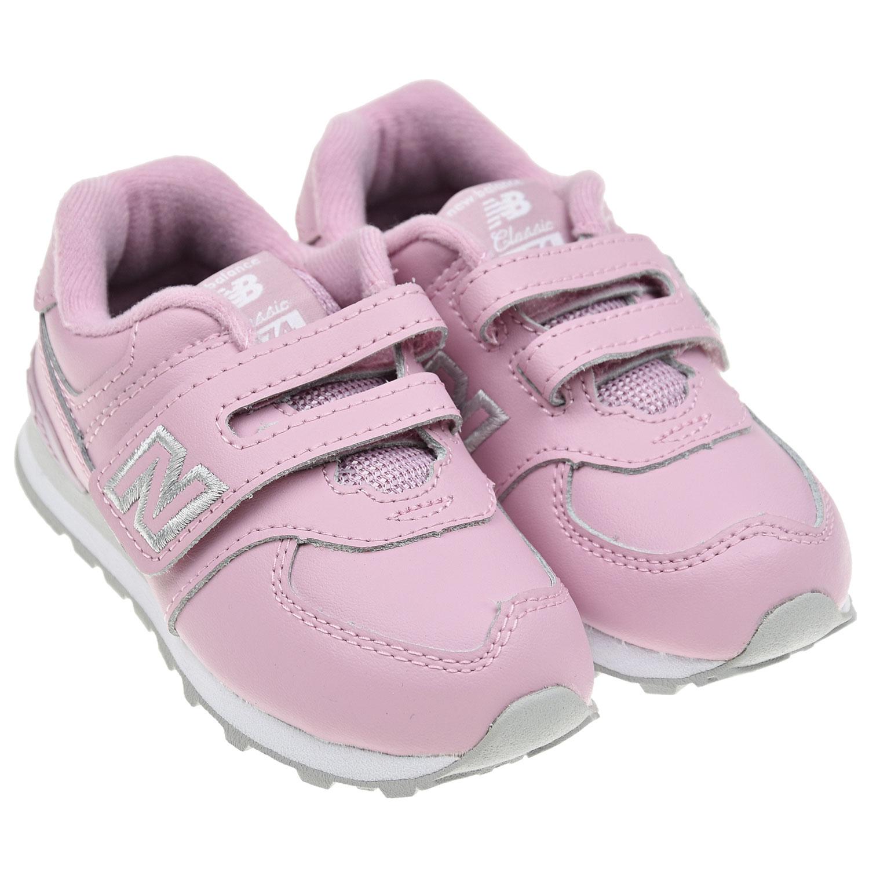 Купить Розовые кроссовки NEW BALANCE детские, Розовый, верх-90%нат.кожа+10%полиэстер, подкладка-100%хлопок, подошва-100%резина