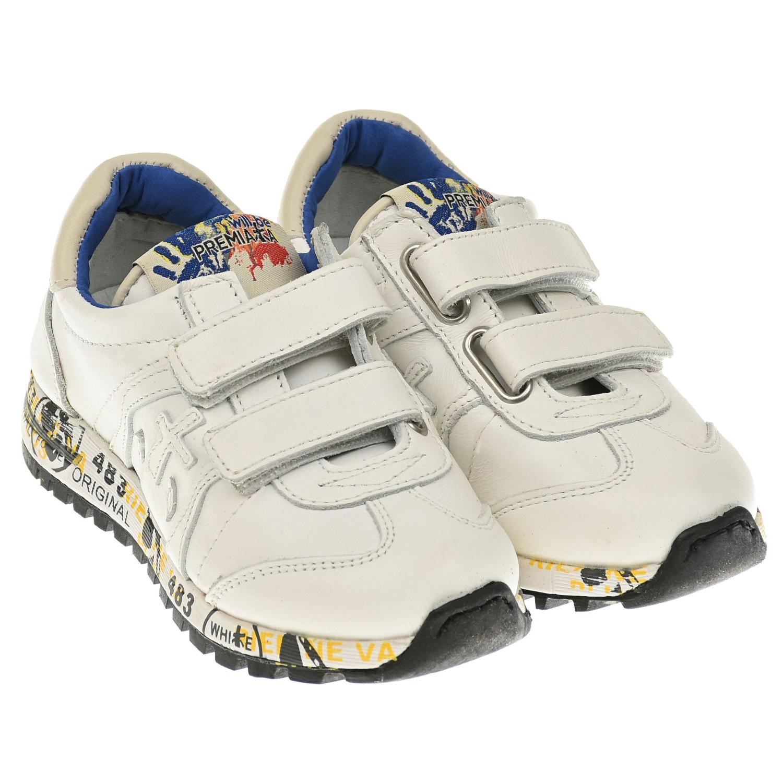 Купить Базовые белые кроссовки will be Premiata детские, Белый, Верх:100% кожа, Подкладка:100% кожа, Стелька:100% кожа, Подошва:70% этиленвинилацетат 30% резина