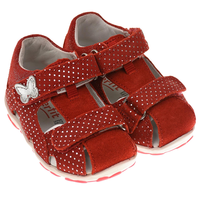 Купить Красные босоножки с серебристой бабочкой SUPERFIT детские, Красный, Верх:100% кожа, Подкладка:100% кожа, Стелька:100% кожа, Подошва:100% резина