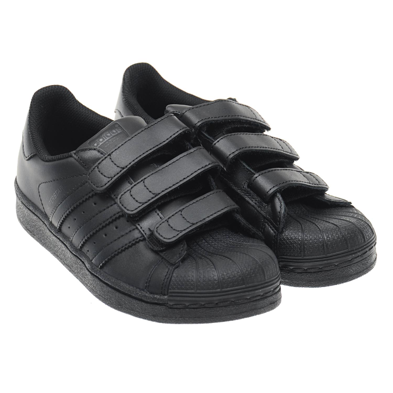 Купить Кожаные кроссовки Superstar Adidas детские, Черный, верх:нат.кожа, полимерные материалы:подкладка:текстиль, подошва:полимерные материалы