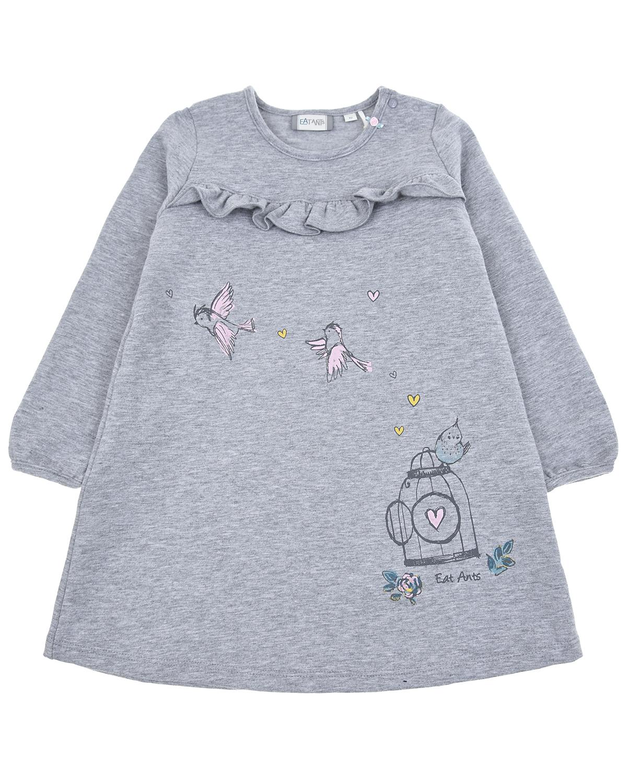 Трикотажное платье с оборкой и принтом Eat Ants by Sanetta детское, Серый, 95%хлопок+5%эластан  - купить со скидкой