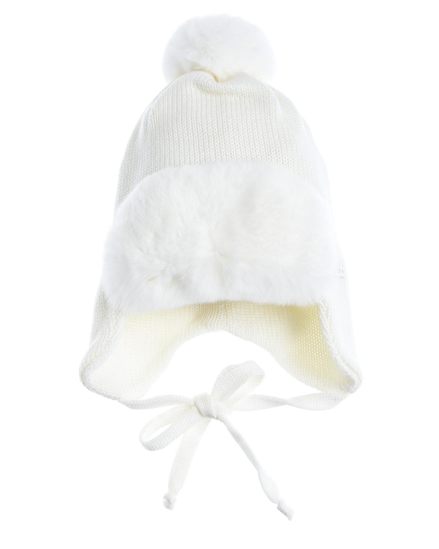 Купить Шапка из шерсти с меховой отделкой Il Trenino детская, Белый, 100%шерсть, нат.мех