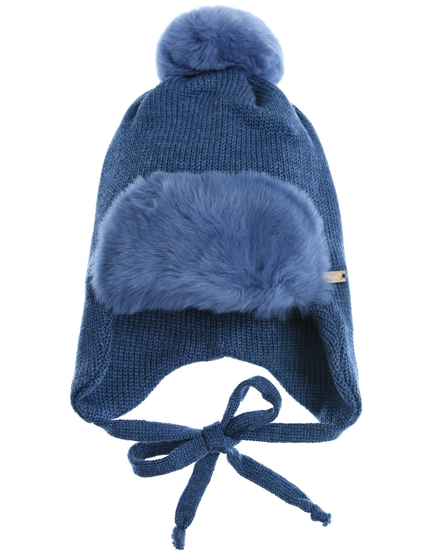 Купить Шапка из шерсти с меховой отделкой Il Trenino детская, Синий, 100%шерсть, нат.мех