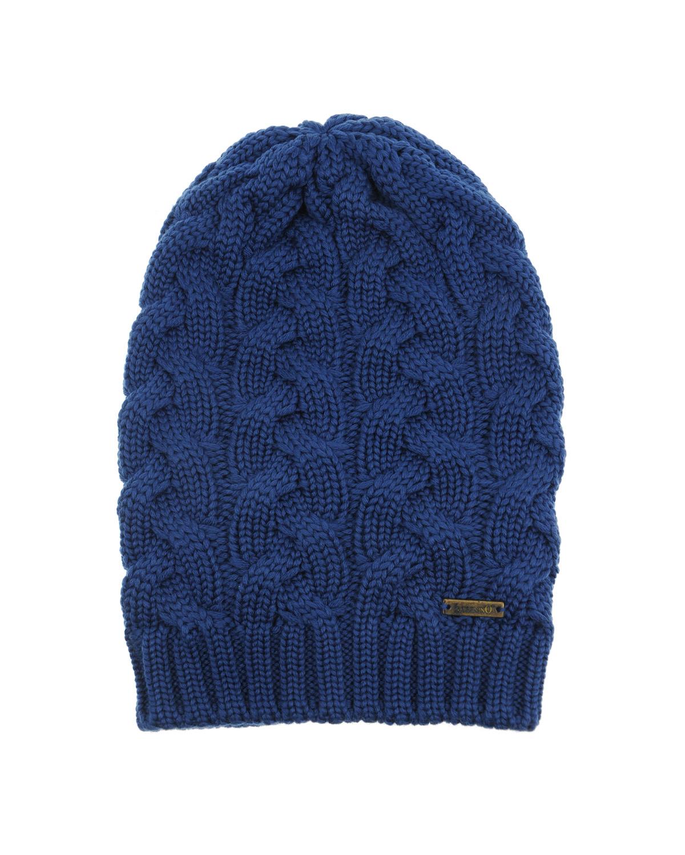 Купить Удлиненная шапка из шерсти фактурной вязки Il Trenino детская, Синий, 100%шерсть