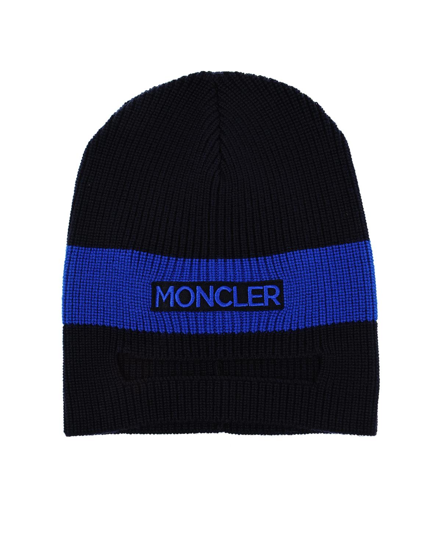 Купить Шапка Moncler детская, Синий, 100%шерсть