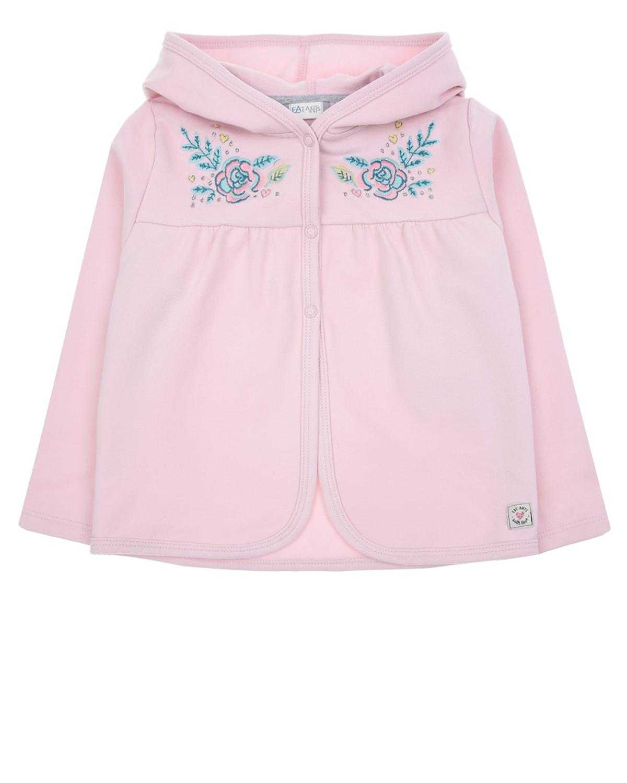 Трикотажная куртка с вышивкойСпортивная одежда<br>Розовая спортивная куртка Eat Ants by Sanetta из хлопкового трикотажа. Модель прямого кроя с капюшоном и застежкой на кнопки. Куртка декорирован вышитыми цветами на полочке.