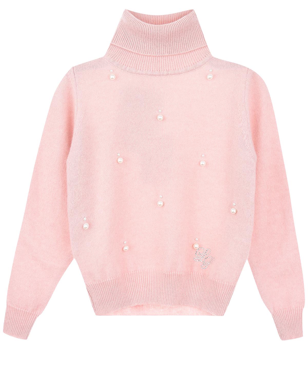 Свитер из 100% кашемира с жемчужными бусинамиСвитеры, Пуловеры<br>Розовый свитер La Perla из нежного, приятного на ощупь кашемира. Этот мягкий материал обладает отличными теплозащитными свойствами. Передняя полочка расшита жемчужными бусинами. Над подолом декор в виде выложенной стразами монограммы «LP». Манжеты, подол и высокий отложной воротник выполнены в технике «резинка».