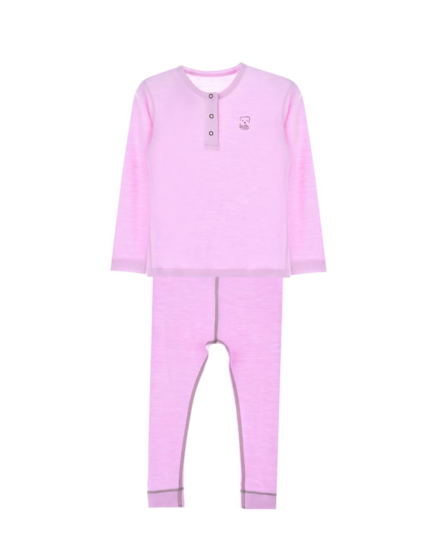 Комплект из двух деталейКомплекты<br>Комплект Laska Kidswear розового цвета из натуральной шерсти мериносов. Толстовка с круглым вырезом, длинными рукавами, застежкой на кнопки у горловины, декорирована принтом с изображением логотипа. Кальсоны с эластичным поясом. Вся продукция Laska Kidswear производится исключительно в Европе, на фабрике основателей бренда и имеет Woolmark сертификат, что уже само собой говорит о качестве пряжи для трикотажного полотна.