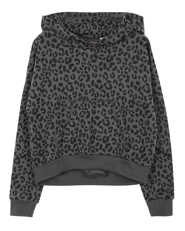Свитшот SanettaТолстовки, Свитшоты<br>Темно-серый свитшот Sanetta из хлопкового трикотажа. Модель с капюшоном, длинными рукавами с манжетами и карманом-кенгуру. Свитшот декорирован сплошным леопардовым принтом.