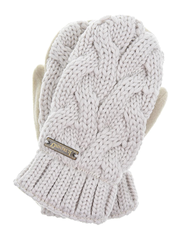 Варежки Il TreninoВарежки и перчатки<br>Бежевые шерстяные варежки Il Trenino. Варежки фигурной вязки с теплой флисовой подкладкой.
