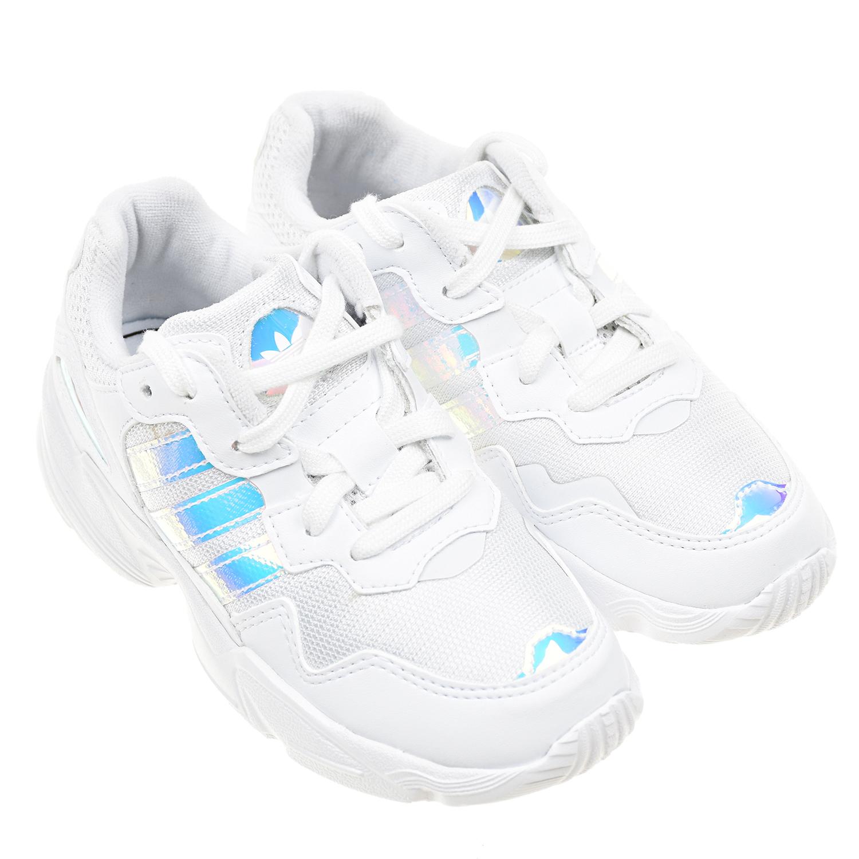 Купить Белые кроссовки Yung-96 Adidas детские, Белый, Верх:100%текстиль, 100%полимер.мат, подкладка:100%текстиль, подошва:100%полимерные материалы