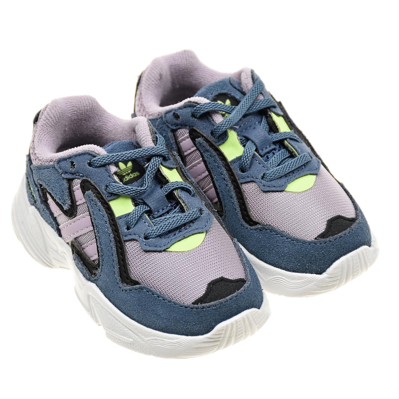 Купить Голубые кроссовки Yung-96 Adidas детские, Желтый, Верх:100%текстиль, 100%нат.кожа, подкладка:100%текстиль, подошва:100%полимерные материалы