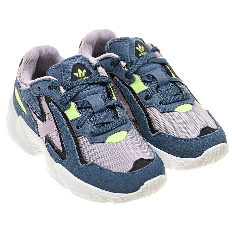 Купить Голубые кроссовки Yung-96 из замши Adidas детские, Желтый, Верх:100%текстиль, 100%нат.кожа, подкладка:100%текстиль, подошва:100%полимерные материалы