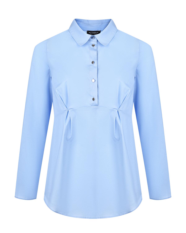 Купить Рубашка с баской для беременных Attesa, Голубой, 97%хлопок+3%эластан