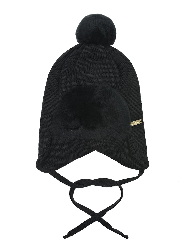 Купить Черная шапка с меховым козырьком Il Trenino детская, Черный, 100%шерсть, нат.мех кролика рекс