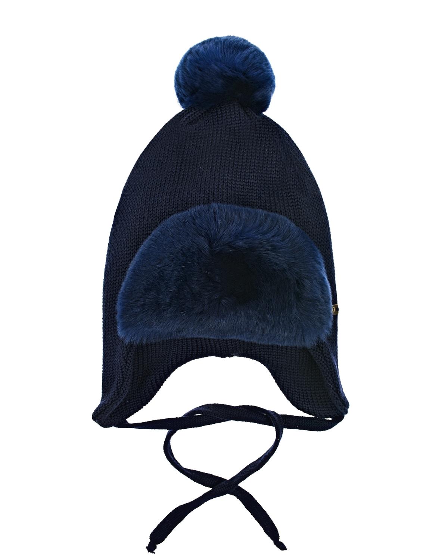 Купить Шерстяная шапка с меховым козырьком Il Trenino детская, Синий, 100%шерсть, нат.мех кролика рекс