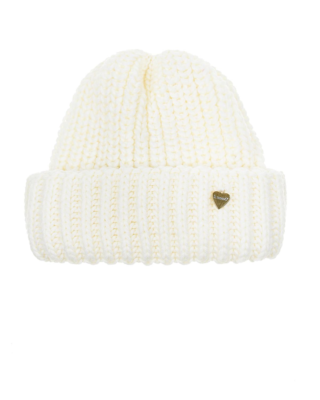 Купить Белая шапка из шерсти крупной вязки Il Trenino