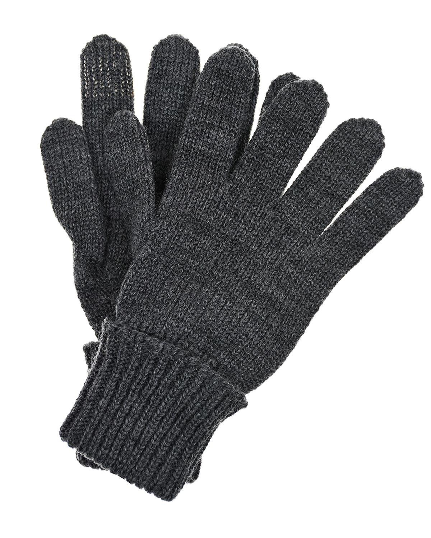 Серые перчатки из шерсти Il Trenino детские фото