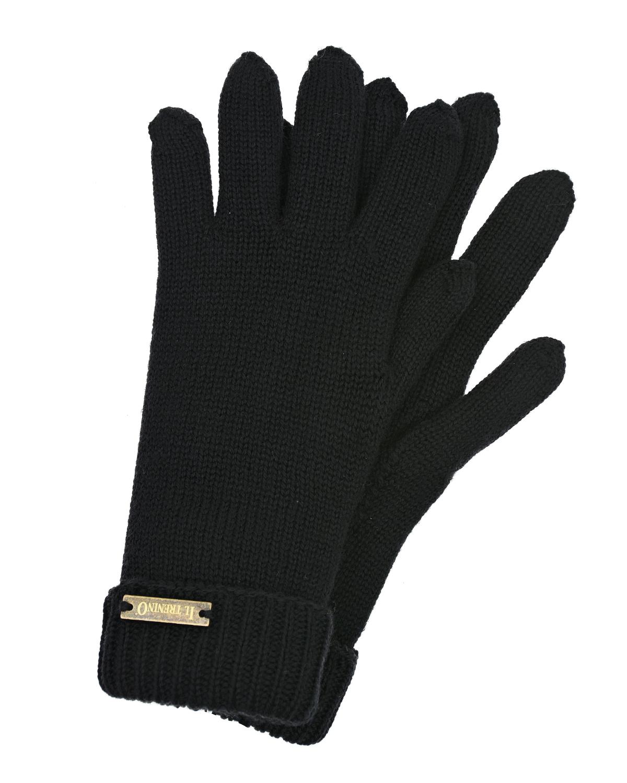 Купить Черные двойные перчатки Il Trenino детские, Черный, 100%шерсть