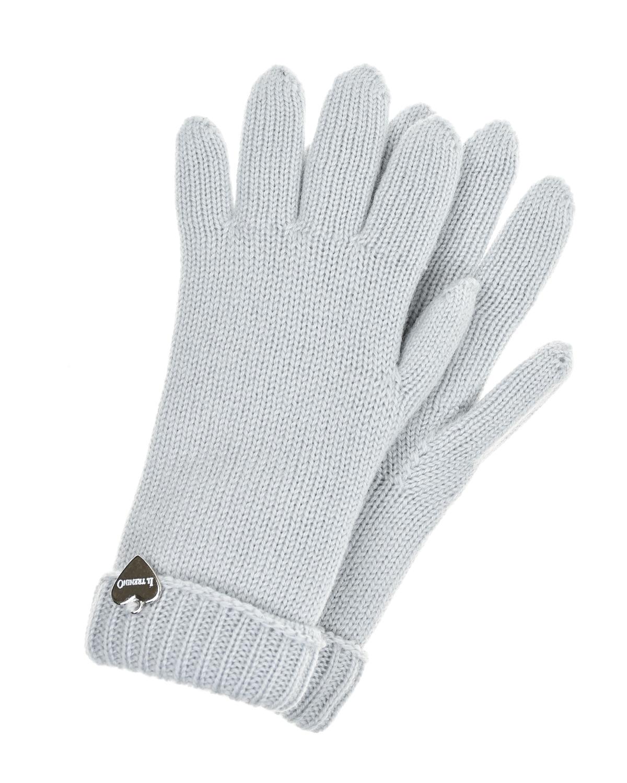 Купить Серые двойные перчатки из шерсти Il Trenino детские, Серый, 100%шерсть