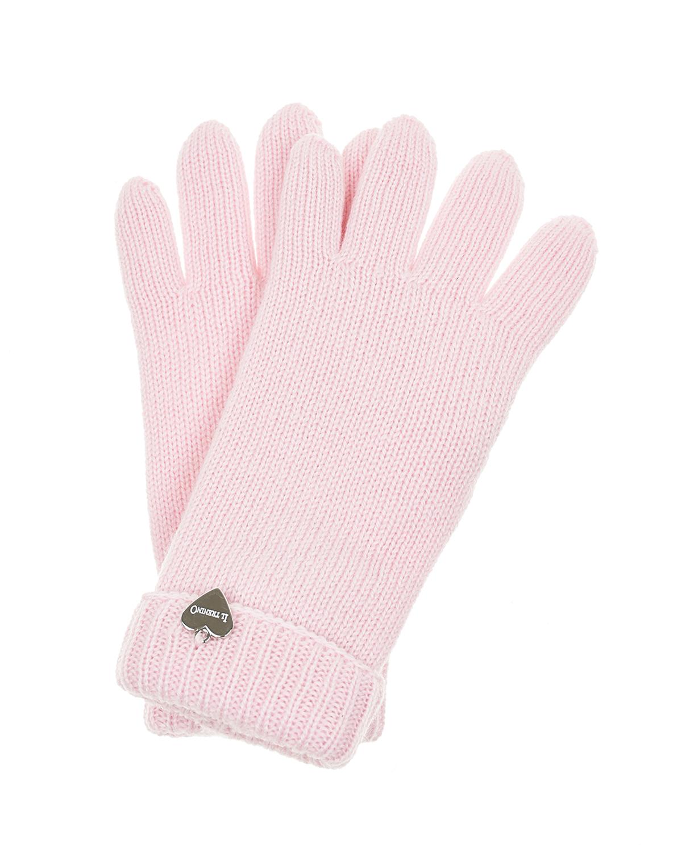 Купить Двойные перчатки из шерсти Il Trenino детские, Розовый, 100%шерсть