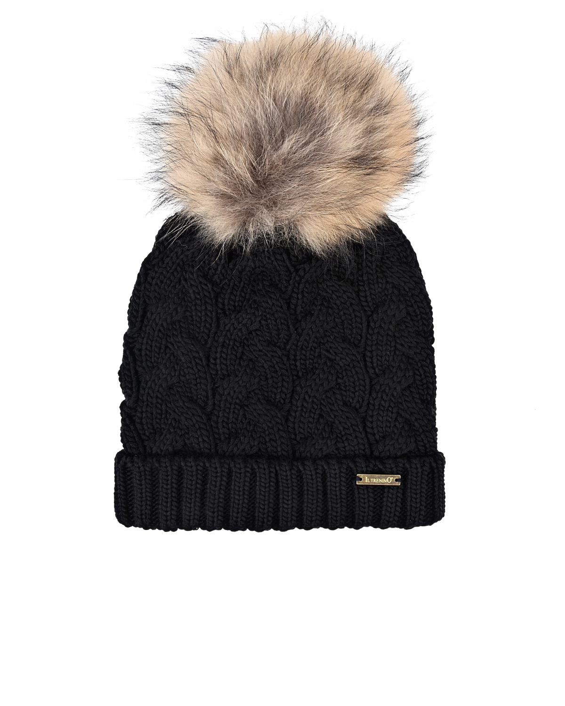 Купить Черная шапка с помпоном из меха Il Trenino