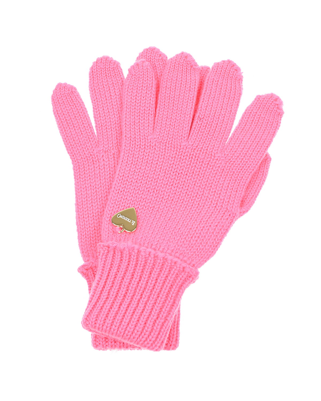 Розовые перчатки из шерсти Il Trenino детские фото
