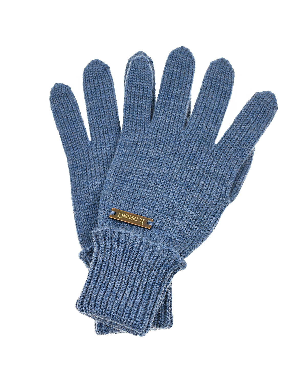 Купить Голубые перчатки из шерсти Il Trenino детские, Синий, 100%шерсть