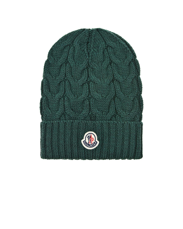 Зеленая шапка фактурной вязки Moncler детская фото