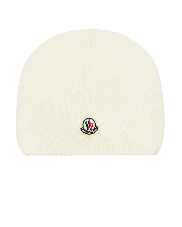 Купить Белая шапка из шерсти Moncler детская, Белый, 100%шерсть